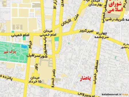 نقشه میدان امام خمینی و خیابانهای اطراف